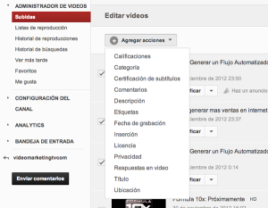 Cambiar varios videos de YouTube