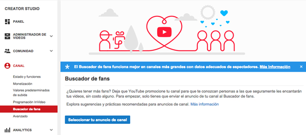 Buscador de Fans YouTube
